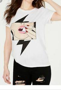 Guess embellished printed Diamond lips t-shirt M